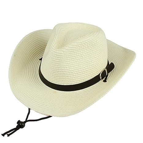 Cappello di Paglia da Uomo Cappello Estivo Cappello da Cowboy per  Pesca Camping f6ee0f170e56