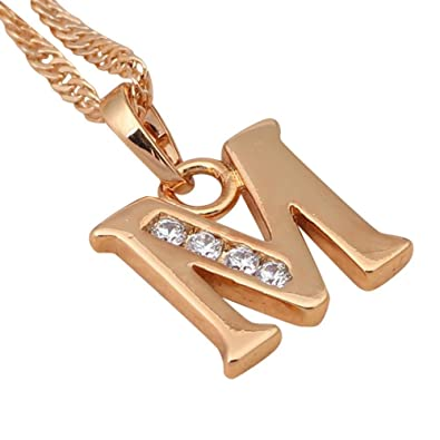 NEROY Fashion Jewelry Glittering 26 Letters Design M Style Designer 18K Gold Plated Crystal Necklaces Pendants
