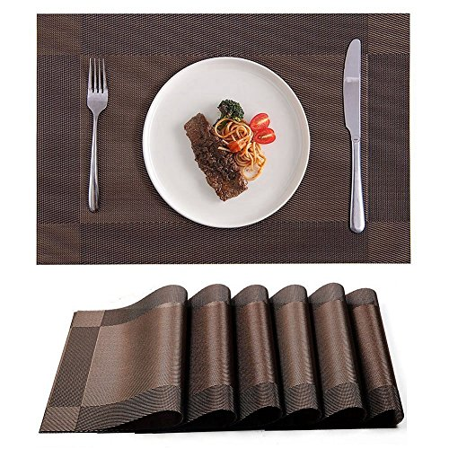 Yongle Placemat Set of 6 PVC Placemats for Dining Table Heat Insulation Stain-resistant Woven Vinyl Kitchen Placemat Simple Style Christmas Placemats Vinyl Placemats (Brown)