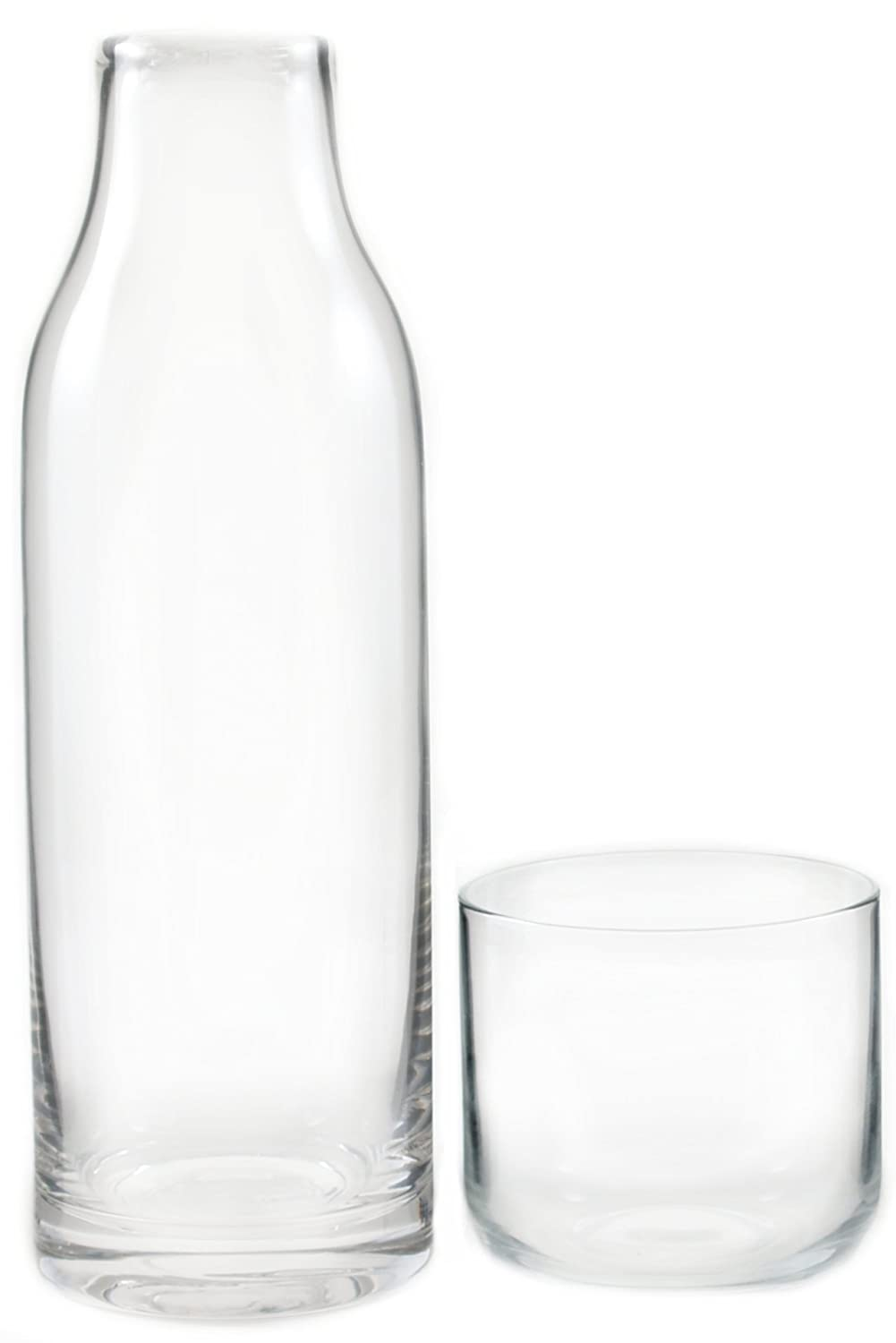 Amazon  Finn Tall Glass Bedside Carafe With Cup, 28 Ounce: Bedside  Water Carafe: Carafes & Pitchers