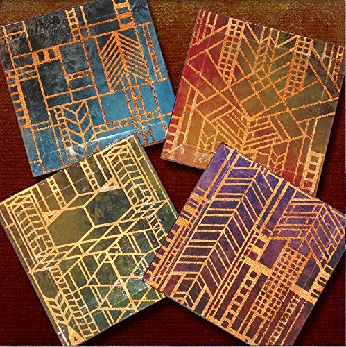 4 Beveled Glass Coasters (Prairie Style Copper Foil Window Coasters - 4 or 5 Inch Square Handmade Beveled Glass Copper FOILZ Coasters - City Lights)