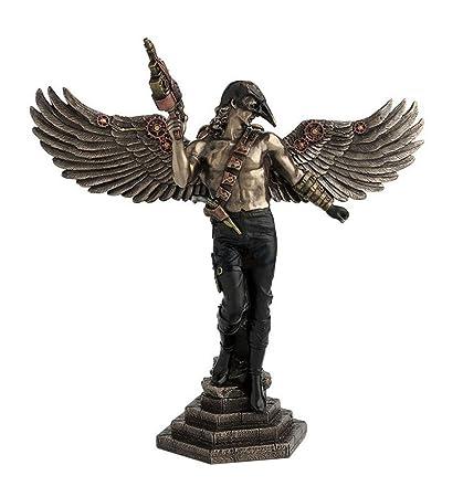 Steampunk Winged Guerrero con máscara de cuervo frío de bronce fundido Estatua de 11 pulgadas de