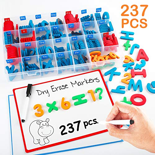 Classroom Magnetic Letters and Numbers for Kids, 237PCS Magnets Letters with Double Sided Magnet Boards, Magnetic Pens and Storage Box, Uppercase Lowercase Foam Alphabet ABC Letters for Toddlers