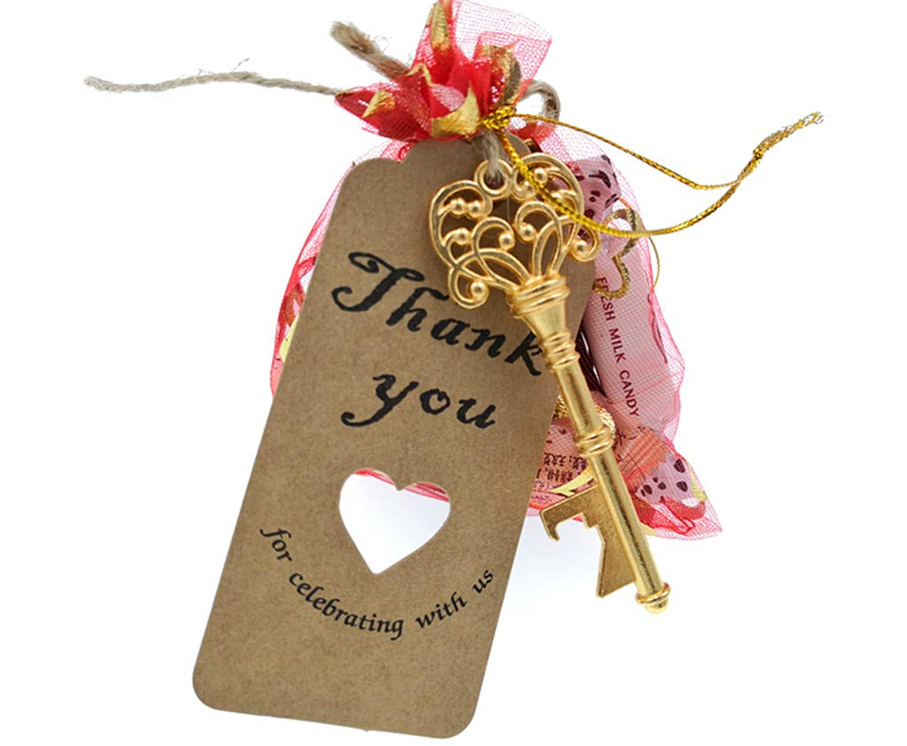 50pcs Skeleton Key Bottle Opener Wedding Party Favor Souvenir Gift with Escort Tag and Jute Rope Golden Tone,5 styles