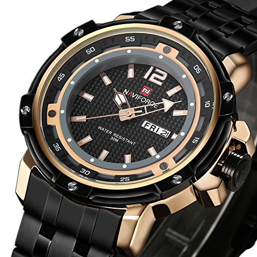 Tonnier Military Sports Man Watches Date&Week Stainless Steel Mens Watches,Rose Gold - Japan Movement Watch