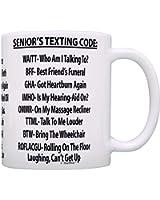 Retirement Gag Gift Senior's Texting Code Office Humor Coworker Gag Gift Coffee Mug Tea Cup White