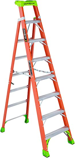Louisville Ladder Cross-Step FXS1508 Fiberglass 300 lb Duty Rating Type IA Step/Shelf Ladder, 8, Orange by Louisville Ladder: Amazon.es: Bricolaje y herramientas