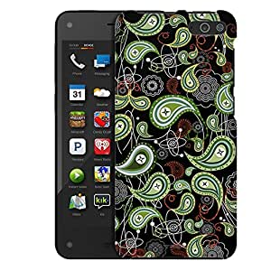 Amazon Fire Case, Slim Fit Snap On Cover by Trek Green Paisley on Black Case