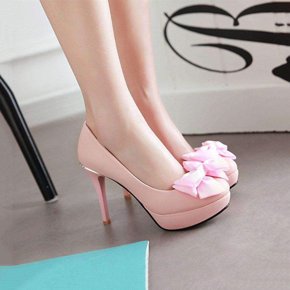 XUERUI Mode Bogen Komfort Flache Mund Schuhe gut mit mit mit super High Heels (Farbe   Rosa, größe   EU39 UK6 CN39) e68644