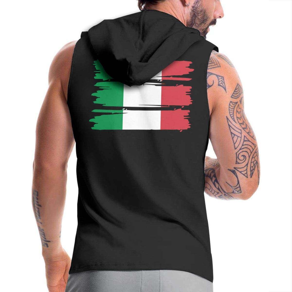 Italian Flag Zip Up Vest BMWEITIHBQ Mens Sleeveless Sweatshirt