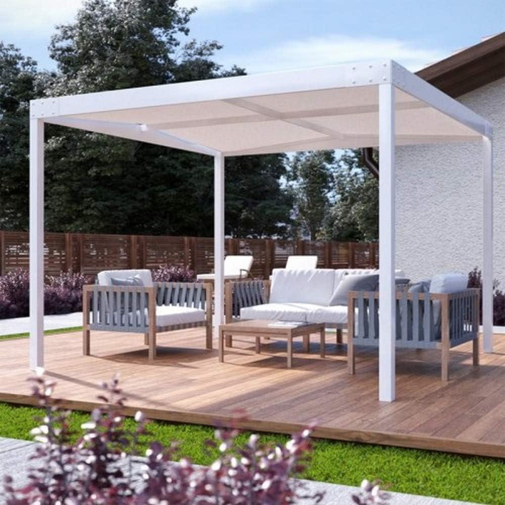 QEEQ.IT - Cenador de 4 x 3 cm, Estructura Blanca/Tela Beige pérgola de Aluminio: Amazon.es: Jardín