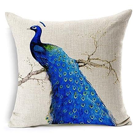 peacock inch fablegent x home design throw elegant amazon decorative cover pillow dp kitchen com sapphire blue