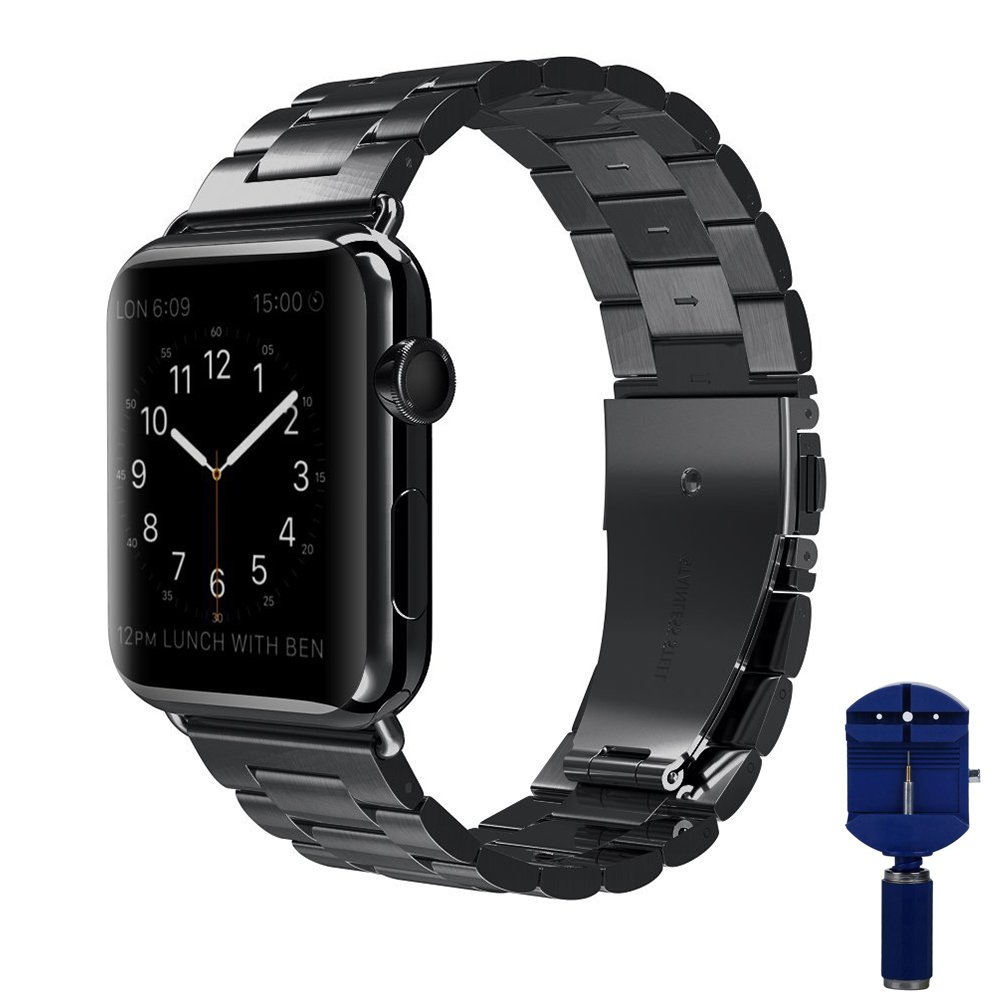 Apple Watch band, VIPPLUS iWatch band Stainless Steel Strap Wristband Replacement Bracelet with Durable Folding Metal Clasp for Apple Watch Series 3/2/1 38mm Black