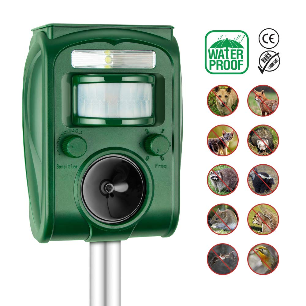 Kaifire Cat Repellent Ultrasonic Solar Powered Animal Repeller,Ourdoor Waterproof Electronic Scarer Deterrent with Ground Stake for Garden Yard Field Farm Glassland Scare Away Dog,Cat,Squirrel,Rat ect solarRP-N01