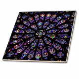 3dRose South Rose Window of Notre Dame Cathedral in Paris Tile, 4 x 4
