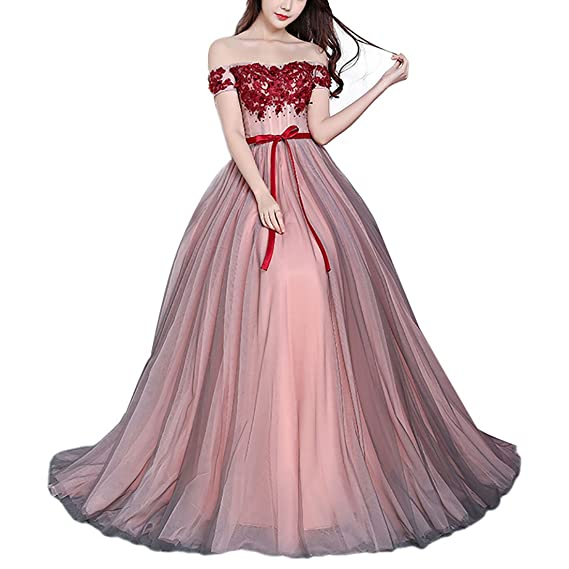 TOYIS Women\s Adjustable Sexy Evening Off Shoulder Dresses Bridesmaid Banquet Elegant Party Prom