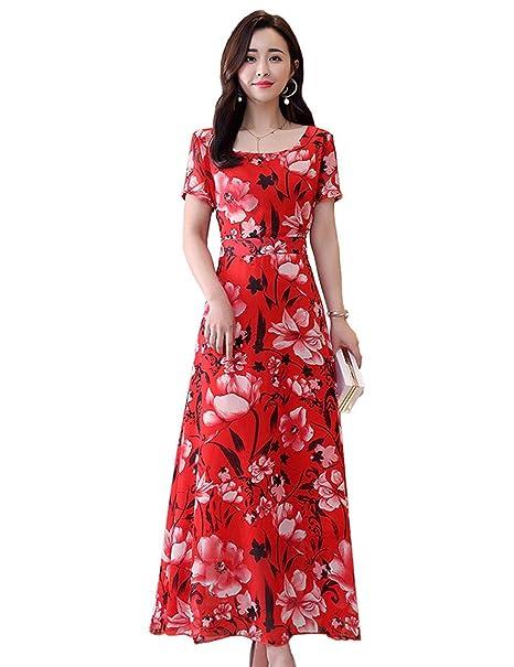 Vestido YONGYONGCHONG Gasa de Verano Señoras de Manga Corta ...