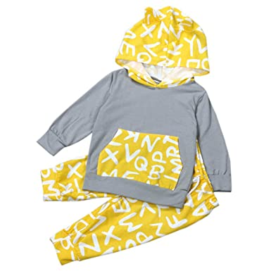 YanHoo Conjunto de Ropa para niños Traje de suéter con Capucha y Orejas de Gato Chico Bebé Recién Nacido Niños Niñas Ropa Conjunto Sudaderas Tops Abrigo ...