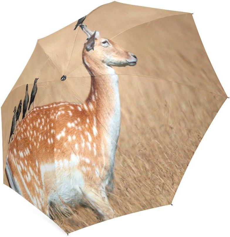 Custom Cute Deer Compact Travel Windproof Rainproof Foldable Umbrella