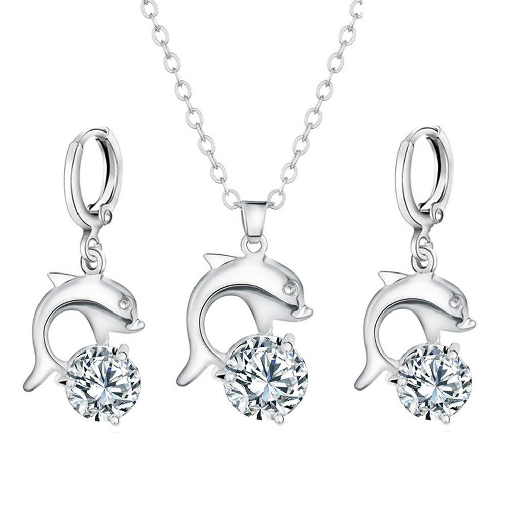 wonCacrostrans Frauen-Schmuck-Set, stilvolle Zirkon Dolphin Anhänger Halskette Creolen Eardrops Schmuck-Set
