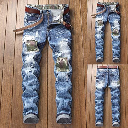 Jeans Déchirés Stretch Pantalons Skinny De Blue Détruits Hommes Cargo Pour Homme Motard WERqBw0Zq