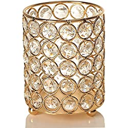 VINCIGANT Gold Cylinder Crystal Tea Light Candle Holders/Candle Shade for Yankee Candle & Jar Candles,Gifts for Wedding/Anniversary,Colored LED Copper Wire String Lights Included