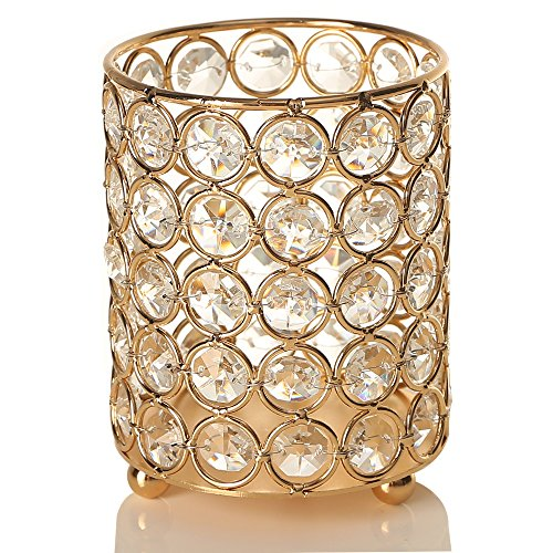 VINCIGANT Gold Cylinder Crystal Tea Light Candle Holders/Candle Shade for Yankee Candle & Jar Candles,Wedding, Colored LED Copper Wire String Lights Included ()