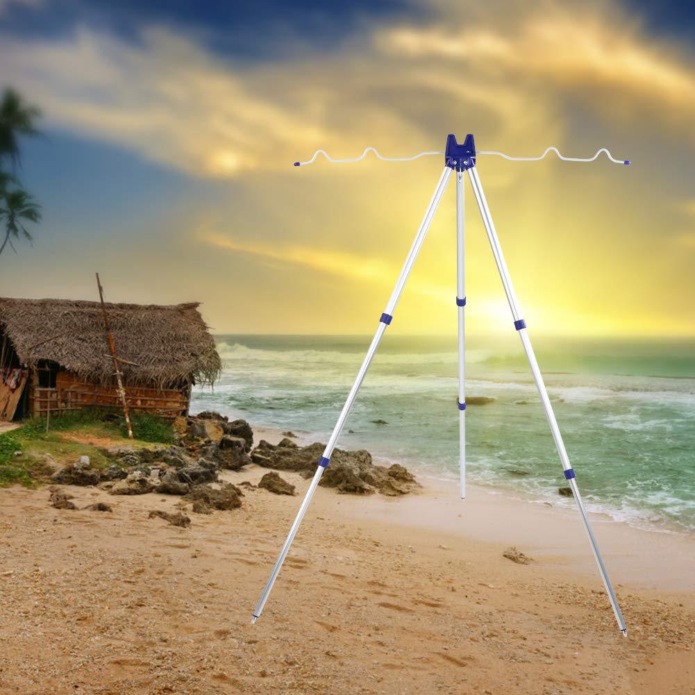 Soporte para Tr/ípode de Pesca Ajustable Aleaci/ón de Aluminio para 5 Ca/ñas Mar Playa Muelle Grueso Orilla Tackle Ground