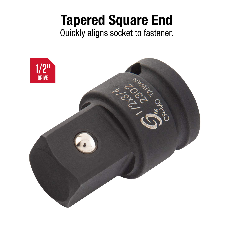 Sunex 2302 1//2-Inch Female 3//4-Inch Male Impact Socket Adapter