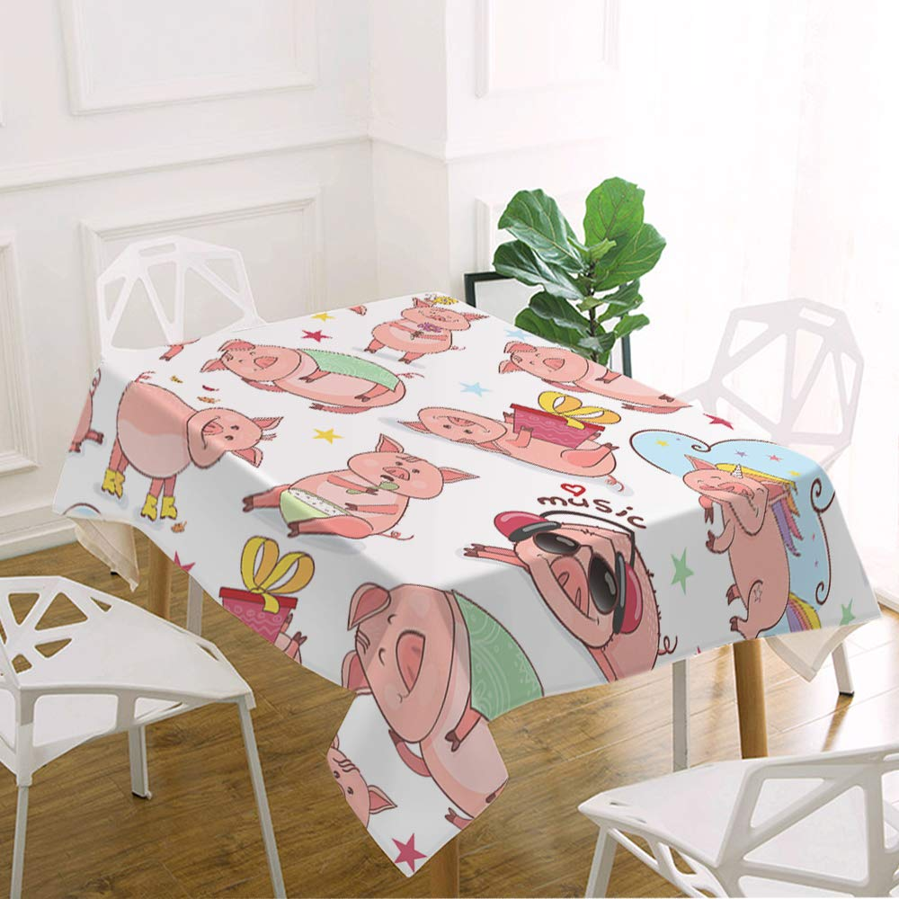 oFloral Pig Table Cloth Piglet Listens to Music Eats Sleeps Holds Gift Decorative Rectangle Tablecloth Home Decor for Kitchen Dinning Tabletop Buffet Table Party Outdoor Picnic 52x70 Inch