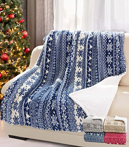 Sherpa Throw Christmas Blanket, Super Soft Snowflake Pattern Fleece Bed Throw TV Blanket Reversible for Bed or Couch Christmas Holidays 50