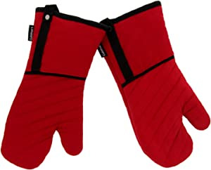 Cuisinart Heavy Duty BBQ Oven Mitts, 2pk - Heat Resistant Quilted Oven Gloves with Terry Cotton Lining Provide Safe Insulation to Handle Hot Kitchen Items - BBQ Gloves with Hanging Loop - Red/Black