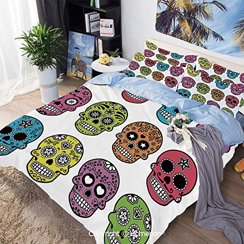 Three-Piece Bed,Ornate Colorful Traditional Mexian Halloween Skull Icons Dead Humor Folk Art Print,Queen Size,Include 1 Quilt Cover+2 Pillow case,Multi -