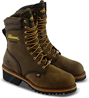 "product image for Thorogood 804-3555 Men's Logger Series - 9"" Waterproof, Safety Toe Boot, Brown Crazyhorse - 10.5 M US"