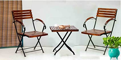 Matchless Patio Furniture 2 Folding Arm Chair & 1 Sfolding Table Set