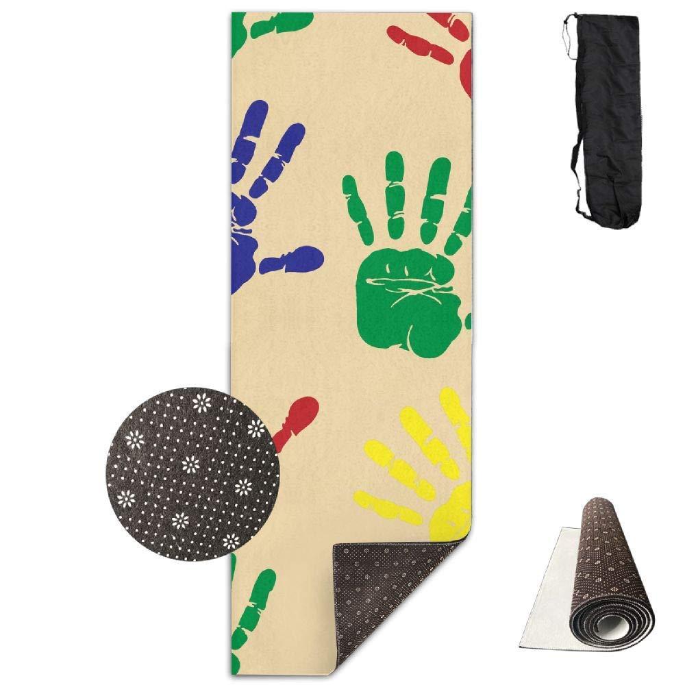 70Inch Long 28Inch Wide Comfort Velvet Yoga Mat, orange Handprint Fun Mat Carrying Strap & Bag