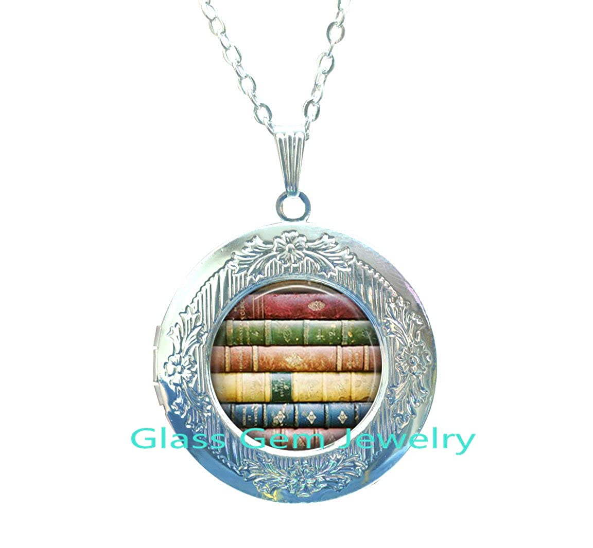 Book Jewelry Book Geek Gift Librarian Jewelry,Q0130 Library Gifts Locket Necklace Writer Stack of Books Reader Book Stack Locket Necklace