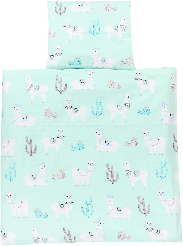 TupTam Baby Pram Crib Bedding Set Duvet and Pillow 4 pieces 80x80 cm Drops White//Drops Gray