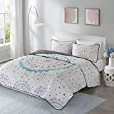 Twin Quilt Set - Ari Twin Bedspread/Quilt set - 2 Piece - White - Printed Multi-Color Medallion Design with Solid Grey Reverse Summer Quilt Blanket Coverlet