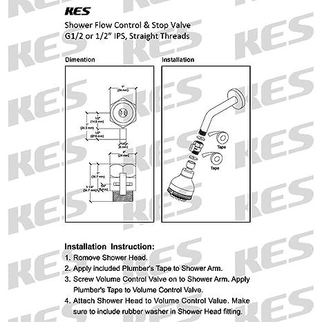 KES K1140B3 Shower Head Shut Off Valve Brass With Metal Handle, Polished  Chrome     Amazon.com
