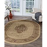 Universal Rugs 4672 Oval Sensation Traditional Area Rug, 6-Feet 7-Inch by 9-Feet 6-Inch, Ivory