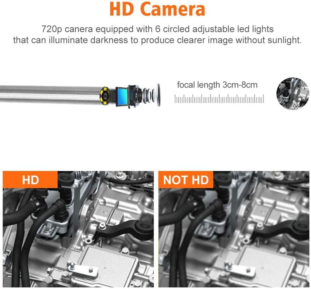 YANGMAN-BJ Industrial Borescope,Snake Camera Inspection Endoscope 3.9mm 2.0 Megapixels HD IP67 Waterproof Wireless Endoscope for Android and iOS,11ft