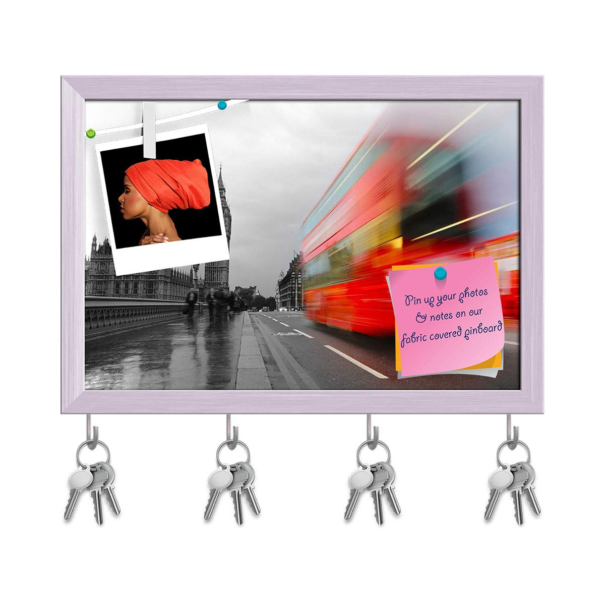 White Frame 11.5inch x 8inch (29.2cms x 20.3cms) Artzfolio Red Bus, Big Ben, Palace of Westminster in London UK Key Holder Hooks   Notice Pin Board   Antique golden Frame 17.5 X 12Inch