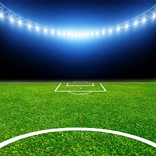 Leowefowa 5X5FT Football Field Backdrop Stadium Interior Sports Theme Backdrops for Photography Sparkle Lights Green Grassland Vinyl Photo Background Boys Men Game Activity Studio Props