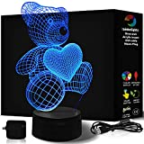 TEDDY BEAR 3D Night Light 7 Color LED Does Not Get Hot Includes MAINS PLUG and USB cable larger size 242mm X 145mm A Great Gift for Girls Mom PERFECT GIRLS 3D Illusion Lamp by rainbolights