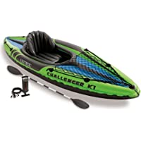 Intex 1-Person Inflatable Kayak Set with Aluminum Oars and High Output Air Pump