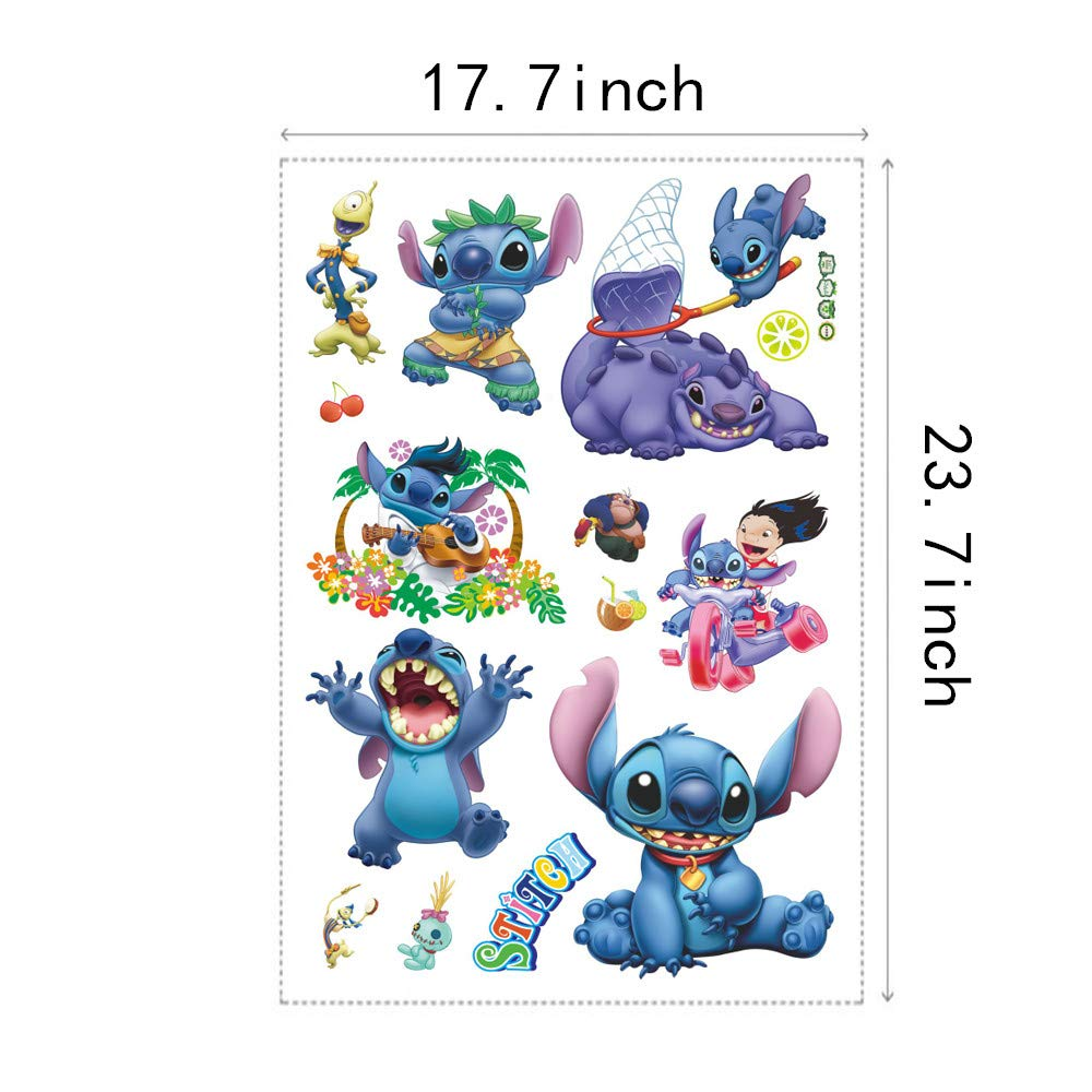 TE YANG 3D Lilo and Stitch Wall Decal for Girls Cartoon Lilo & Stitch Bedroom Decor Vinyl Decoration Wall Stickers Rooms Home Trunk Wall Decal Stickers(17.7X 23.7 inch Size)