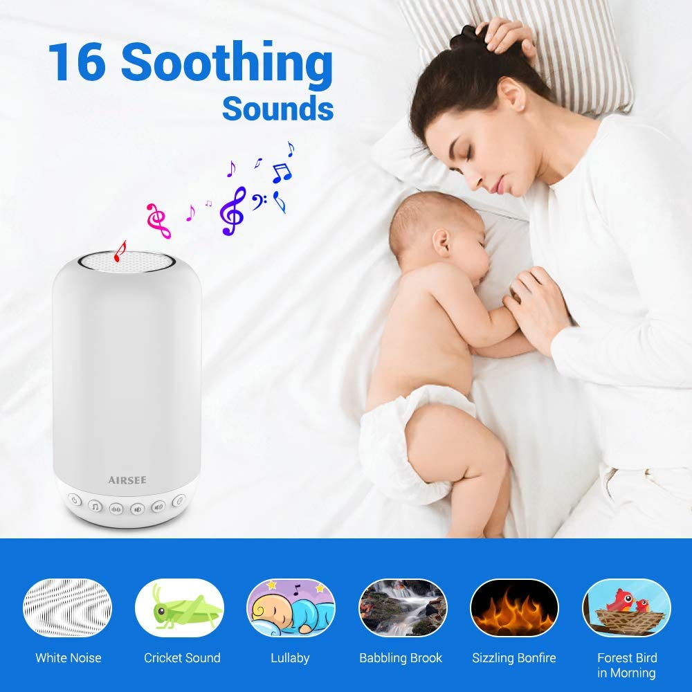 AIRSEE White Noise Machine Portable Nursery Light with 16 Soothing Sound Sleeping Machine Night Light Sound Machine with Touch Lamp for Kids Dimmable 2800K-3100K Light /& 7 Colors for Bedroom Office