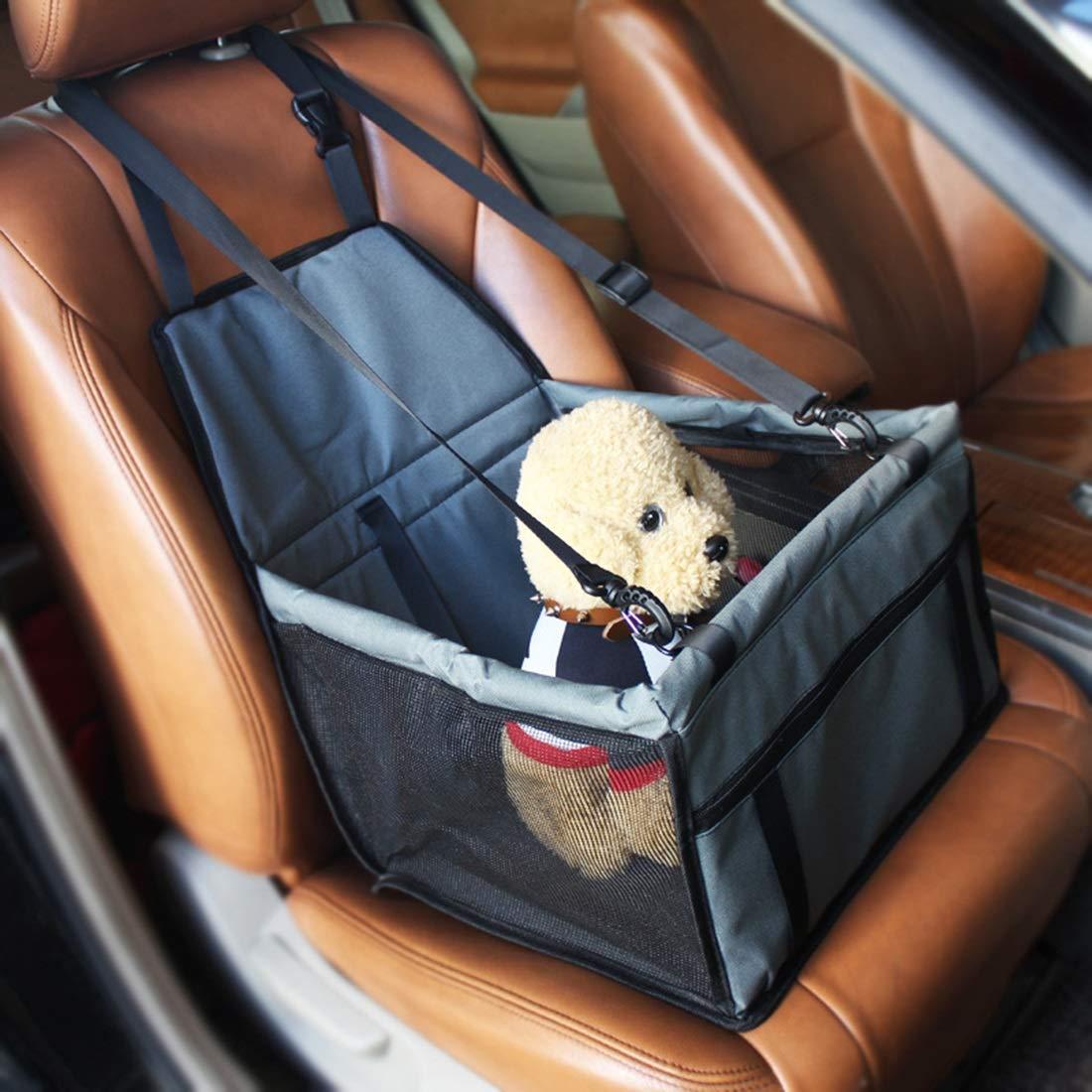 bluee Fiber bluee Fiber KERVINJESSIE Pet Car Bag Dog Car Bag Anti-Collapse Mesh Car Kit Dog Car Seat Pet Car Mat Bag Car Dog Pad Waterproof Pet Travel (color   bluee, Size   Fiber)