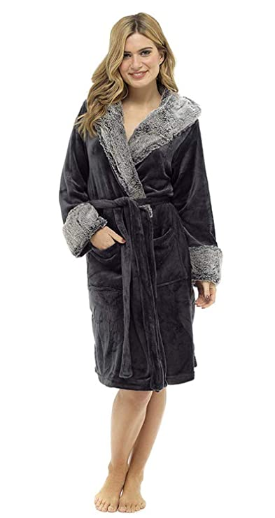 d543877ed6 CityComfort Ladies Luxury Hooded Dressing Gown with Sherpa Hood and Cuffs Super  Soft Robe with Fur Lined Hood Plush Bathrobe for Women  Amazon.co.uk  ...
